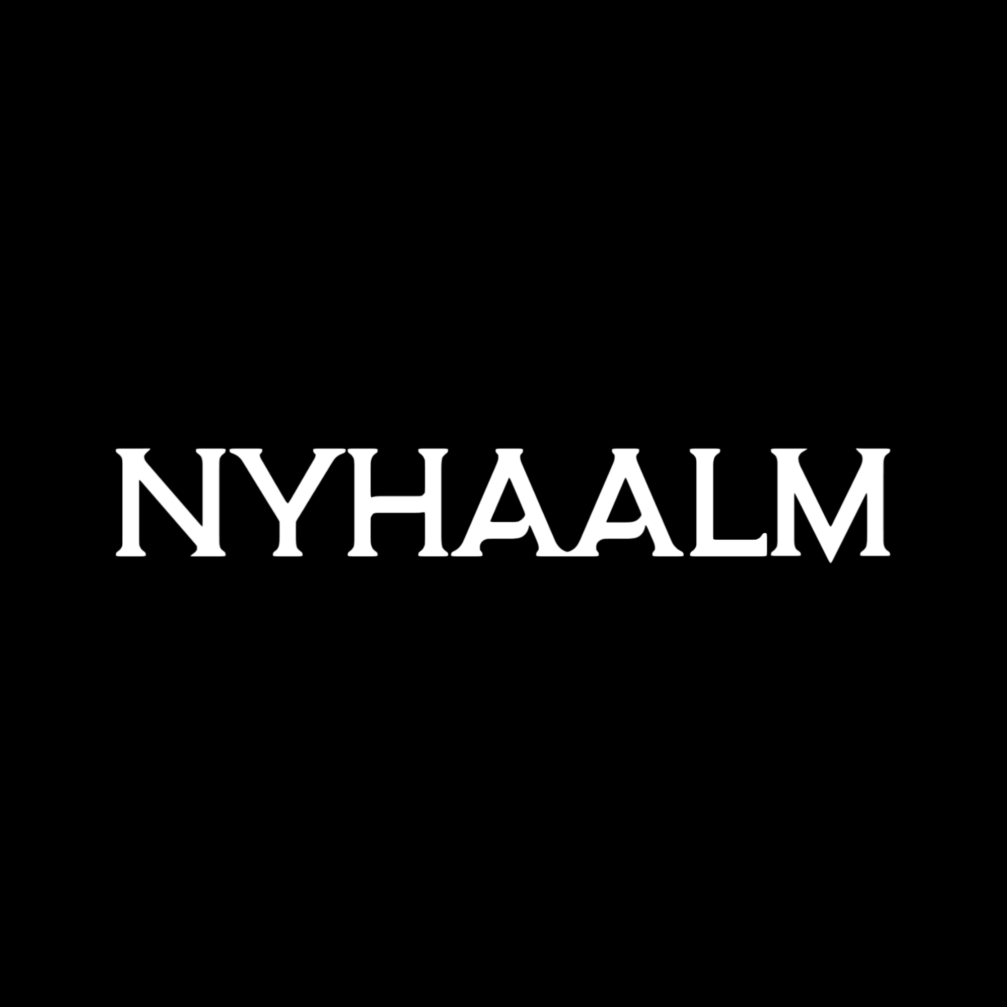 Nyhaalm logo white on black