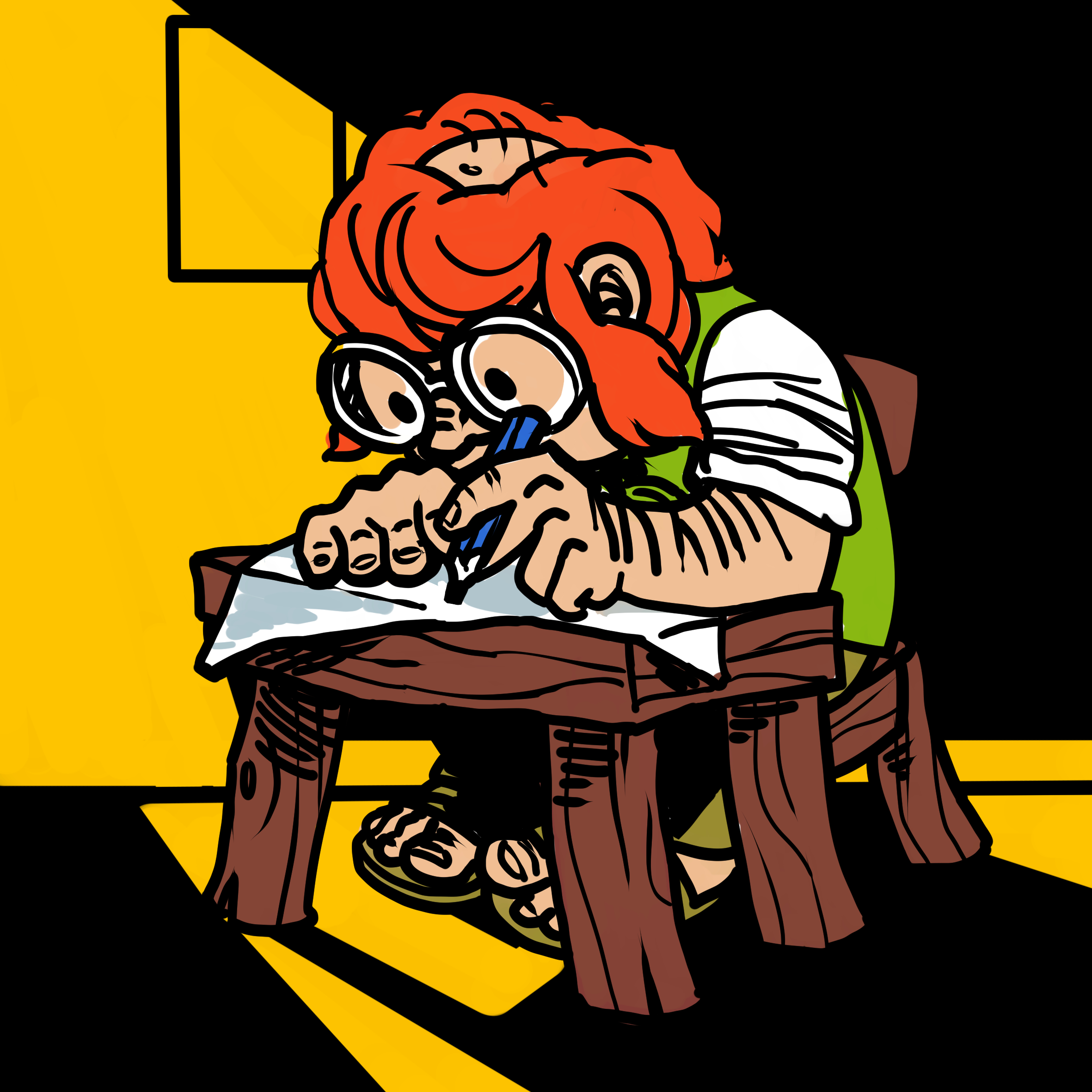 A gnome drawing at his desk