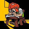 Thumb a gnome drawing at his desk