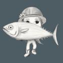 Thumb tuna holding a tuna